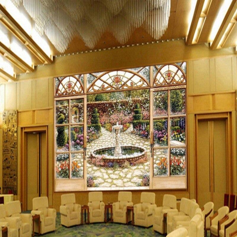 envo libre fuente del jardn paisaje wallpaper saln wallpaper saln mural pintura decorativa pintura al leo