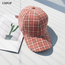 USPOP 2019 New baseball caps women rainbow plaid cap casual adjustable long brim visor