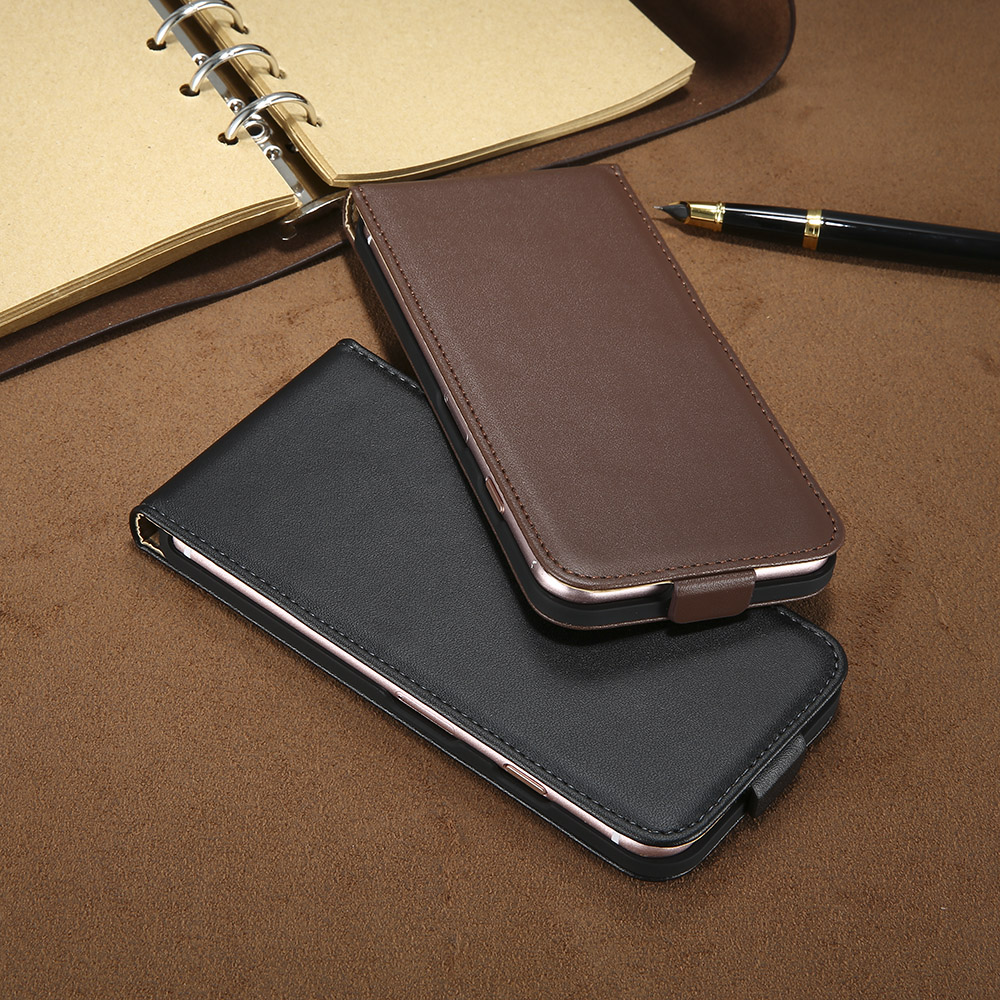 New ! Retro 100% Genuine Leather Case for iPhone 4 4S 5S 5 SE 6 7 Luxury Vertical Magnetic Flip Phone Bag Cover for iphone 4S 5S