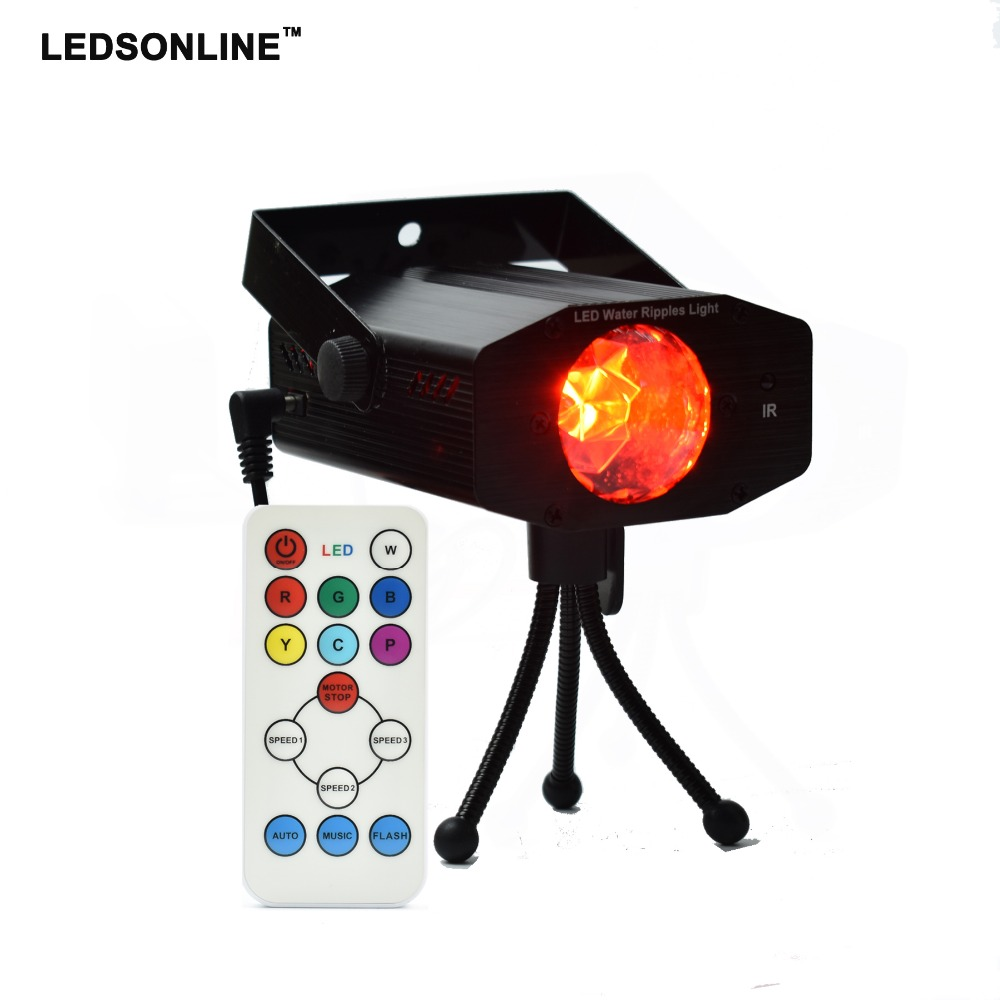 Hot sale Video Ripple Effect Light Projector with 7 Colors, 3 Modes, 3 Speeds, IR Remote Control for home party wedding holiday hot sale hot sale unic uc46 mini portable projector full hd 1080p support red blue 3d effect with wifi connection with free hdm