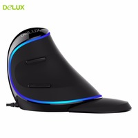 Delux Vertical Mouse Blue Light Ergonomic PC Gamer Mouse LOL Dota 2 Gamer Computer Mice With