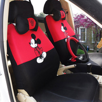 18pcs Cute Mickey Mouse Car Seat Cover Four Seasons General Sandwich Polyester Universal Car Covers Accessories
