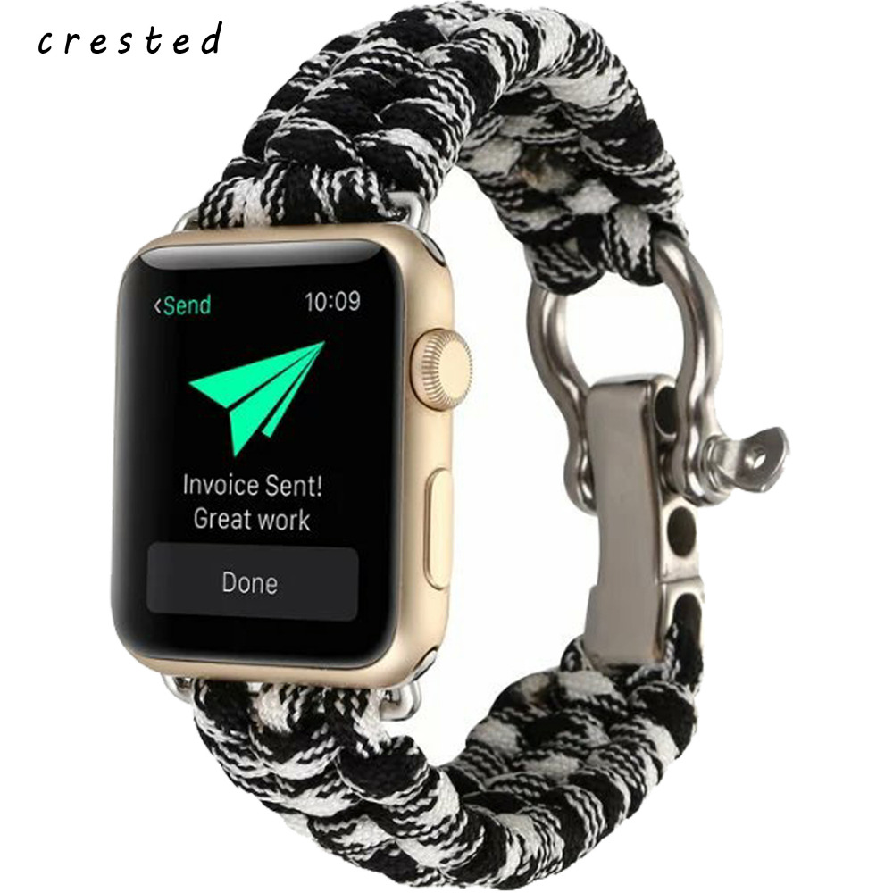 CRESTED nylon band strap for apple watch band 3 42mm 38mm Survival Rope wrist bracelet watch strap for apple iwatch 3/2/1 black survival nylon bracelet with whistle black