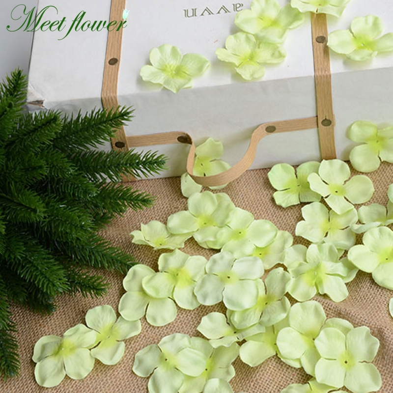 50g/bag Silk Guelder Hydrangea Flower Petals Artificial Cloth Fake Flower Wedding Props 5cm Hair Accessory  Home wedding decor