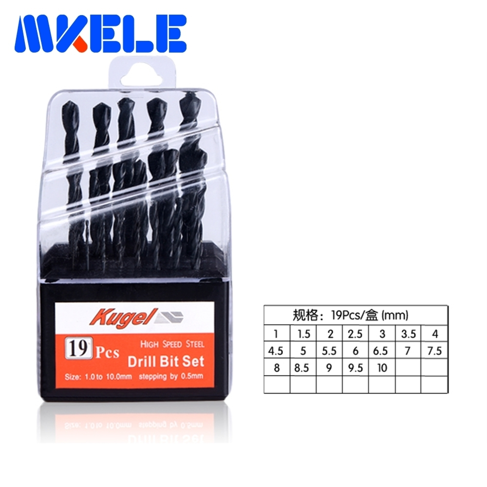 Best Sale 19pcs/box bits Straight Shank HSS/High Speed Steel Twist Drill Bit Woodworking Tools For Metal 10pcs 0 7mm twist drill bits hss high speed steel drill bit set micro straight shank wood drilling tools for electric drills
