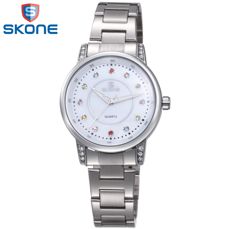 SKONE Colorful Crystal Watches Women Lady Dress Quartz Watch Amazing Stainless Steel Wristwatch for Female skone 7325 women quartz watch