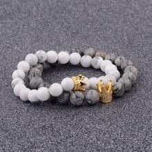 Hot Charm Men Couple Bracelets Handmade Distance Gray & White Crown Beads Stone Bracelet Lovers