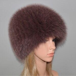 Image 4 - Kadınlar kış doğal gerçek tilki kürk şapka elastik sıcak yumuşak kabarık hakiki tilki kürk kap lüks kaliteli gerçek tilki kürk bombacı şapkalar