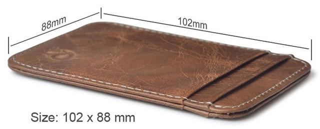 Fashion 100% Genuine Leather Thin Bank Credit Card Case Mini Card Wallet Men Bus Card Holder Cash Change Pack Business ID Pocket 5