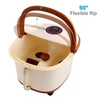 Portable LCD Digital Display Foot Spa Bath Massager Automatic Massage Rollers Heat Adjustable Temperature Control Wheels