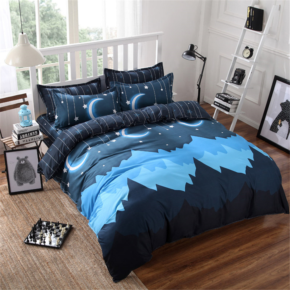 Dark blue bedding - Moon And Star Bedding Bed Sets Queen King Twin Kids 4 5 Pcs Dark Blue