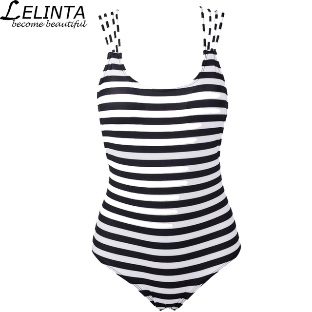 f4a3c8cedce86 LELINTA Sexy Women s Swimwear Siamese Swimsuit Black and White Stripes  Swimsuit High Cut Backless Strap Bathing Suit