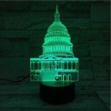 Famous Building White House USB 3D led night light Touch Sensor Multicolor RGB Festival Gift decorative lights Desk lamp bedroom
