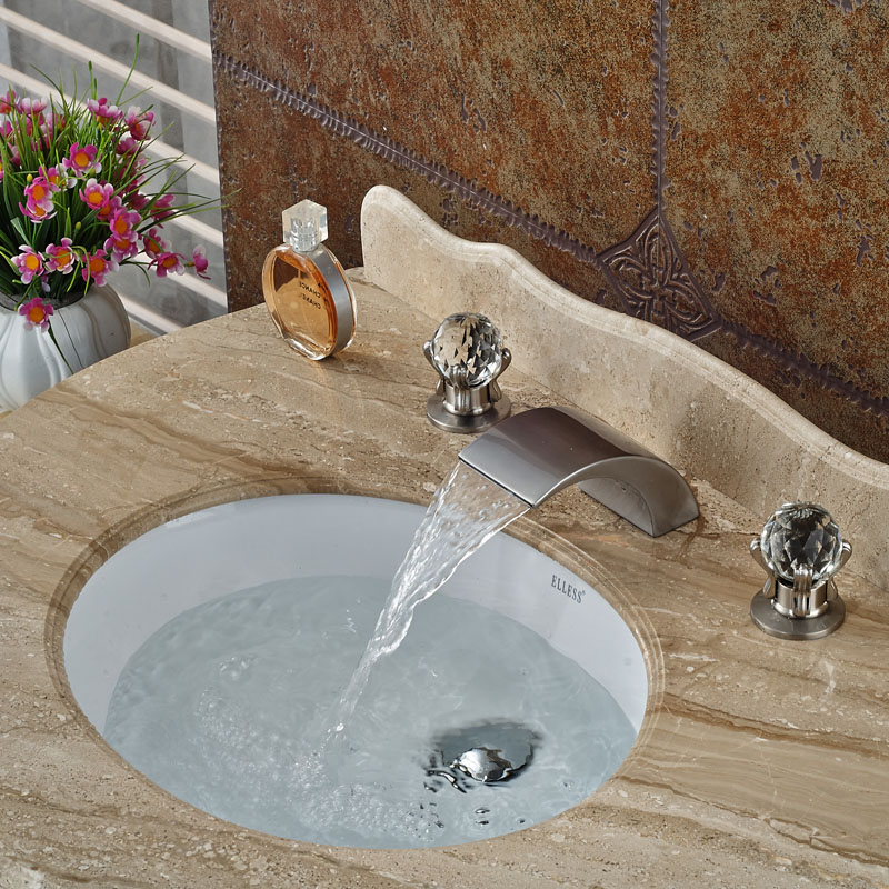 Deck Mount Waterfall Bathroom Basin Sink Faucet Brushed Nickel Finish Widespread Dual Handles new arrive dual square handles waterfall spout bathroom sink basin faucet brushed nickel deck mount