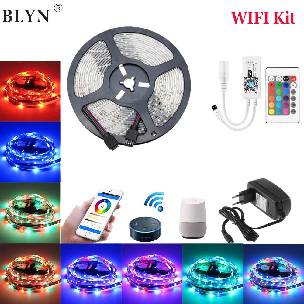 DC12V 2835 SMD RGB WIFI LED Strip 10M 15M Smart Flexible Tape Light Magic Home APP Google Home Alexa Wireless Control TV Light