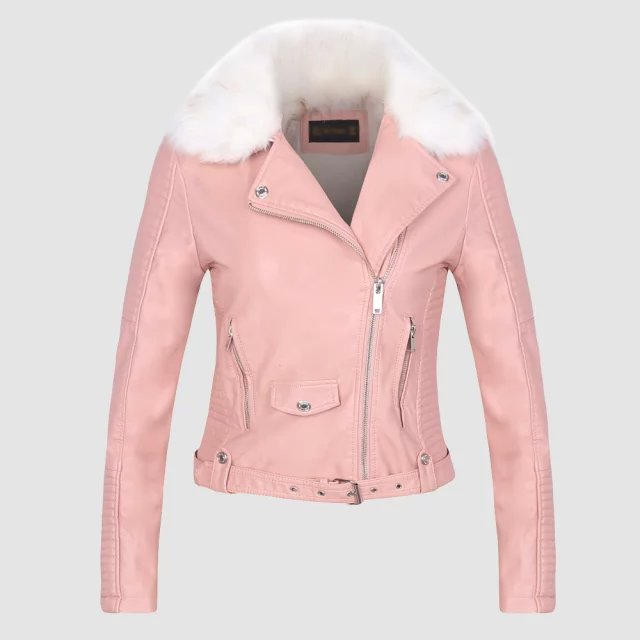 2018 New Winter Women Thick Warm Faux Leather Jackets Ladies Fur Collar Flocking Outerwear Black Pink Zippers Motorcycle Coats