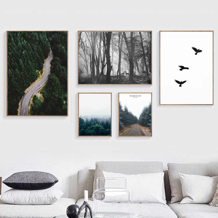 Forest Road Eagle Sky Landscape Quotes Wall Art Canvas Painting Nordic Posters And Prints Wall Pictures For Living Room Decor