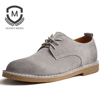 Maden Cow Suede Derby Desert Men Shoes Grey Brown Sand All matching Casual Low top Classic Anti slip Wearable Breathable Sewn