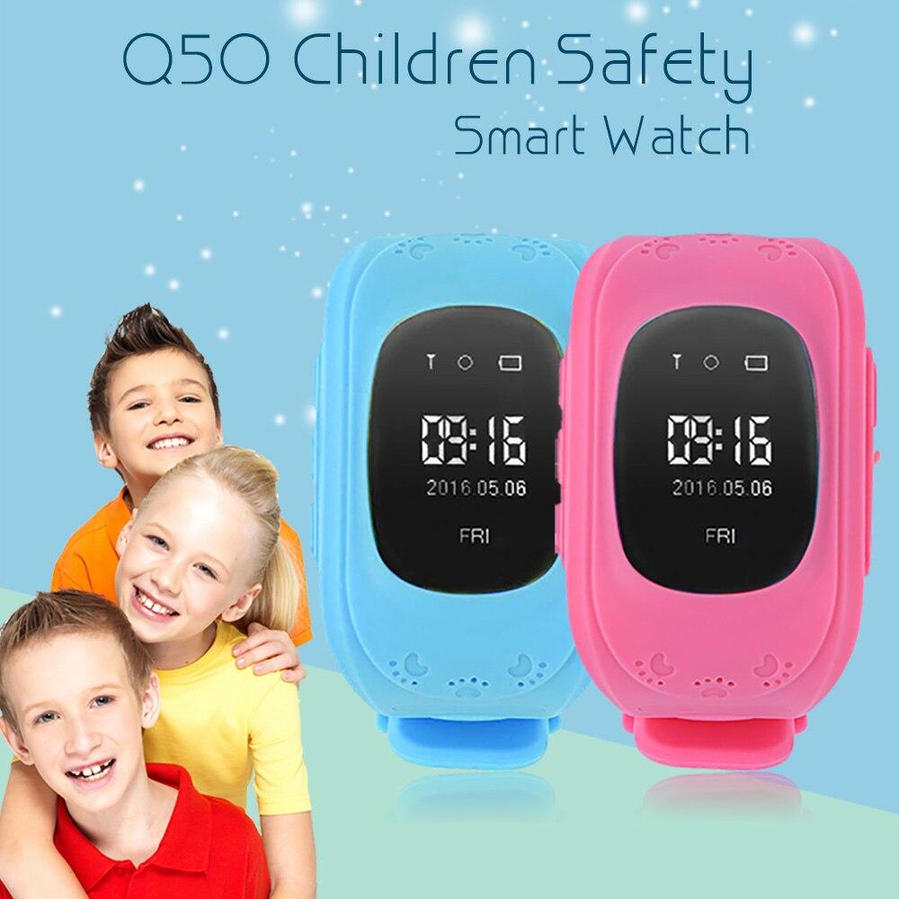 Caliente Q50 reloj inteligente niños reloj GSM GPRS GPS perseguidor Anti-perdido seguro Smartwatch Niño para iOS Android