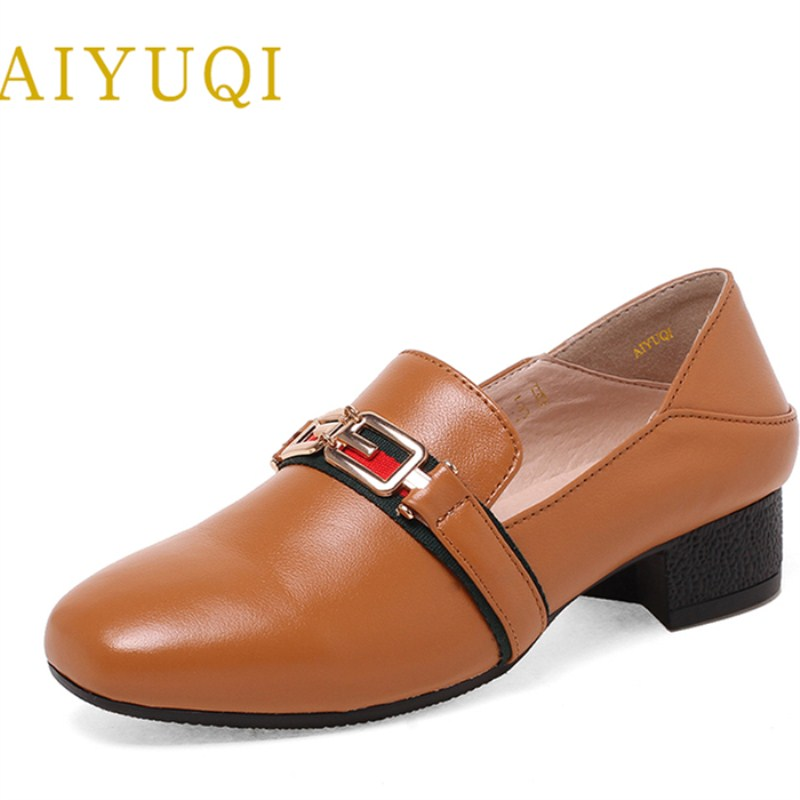 AIYUQI 2018 spring new women's genuine leather shoes waterproof platform sexy plus size 41#42#43# fashion heel shoes female aiyuqi 2018 spring new genuine leather women shoes shallow mouth casual shoes plus size 41 42 43 mother shoes female page 4