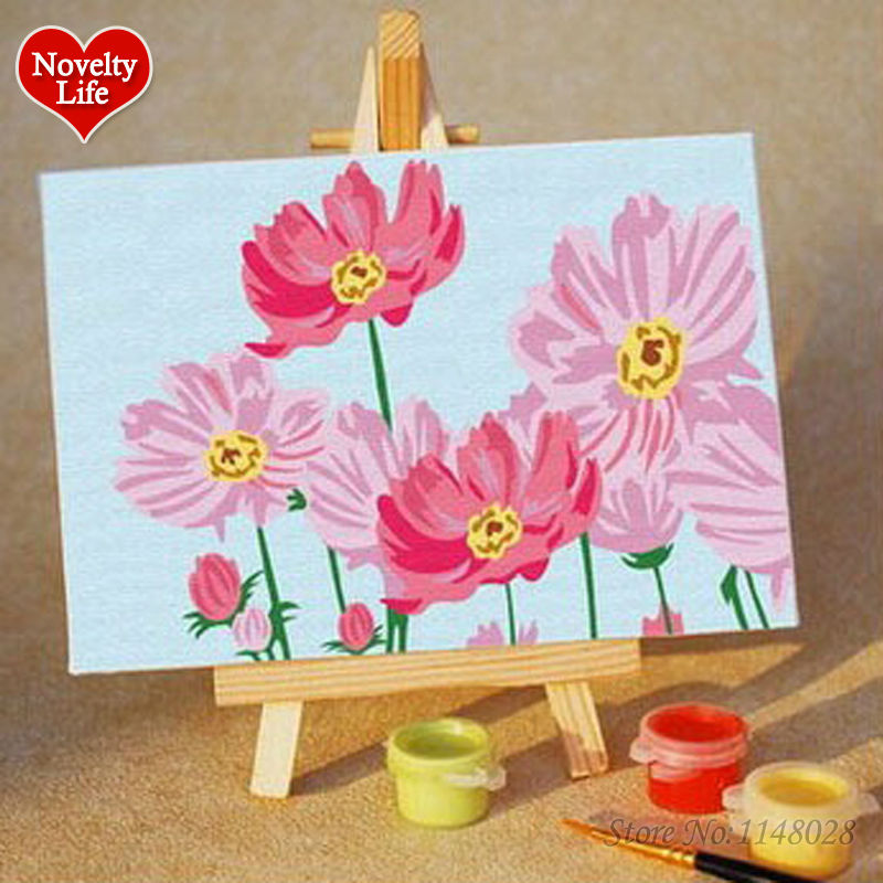 Diy small frame picture painting by numbers pink flower for Kids home decor