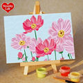 DIY Small Frame Picture Painting By Numbers Pink Flower Children Home Decor Canvas Oil Hand Painted Easel Kid Bed Room Girl Wall