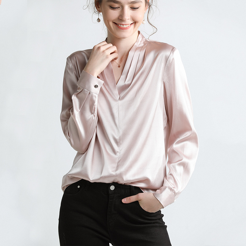 Real silk series Pullover blouse womens Vneck chiffon shirt lace blouse lady's Rose Gold long sleeve top fashion voile Solid