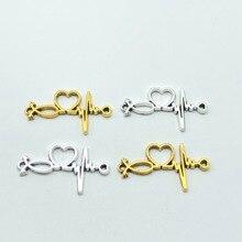 10pcs heartbeat love symbol Jewelry metal fittings connector couple bracelet necklace diy making accessories wholesale20*35mm татуировка переводная heartbeat