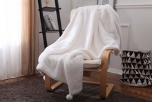Winter Fashion Thick Soft Fleece Fabric For Beds Warm White Pink Gray Flannel Knitted Blankets Travel Velvet Blanket Sofa Cover