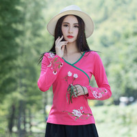Women Chinese Style Shirts V Neck Casual Blouses 2018 Spring Autumn New Loose Vintage Floral Embroidered