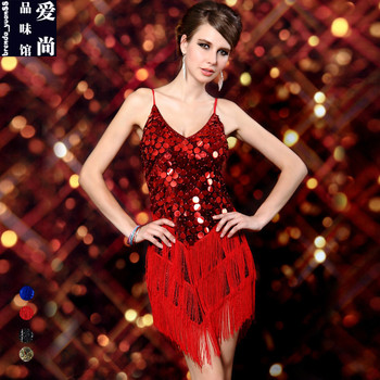 Latin Dance Costumes New Performance Uniform Condole Belt Sequins Tassel Latin Dance Adult Female Qiaqia Dress B-4187