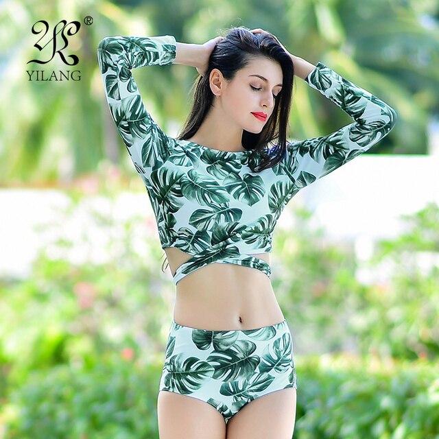 362a4126c05d8 Hoja de impresión tankini traje de baño de manga larga de dos piezas de baño  bikini