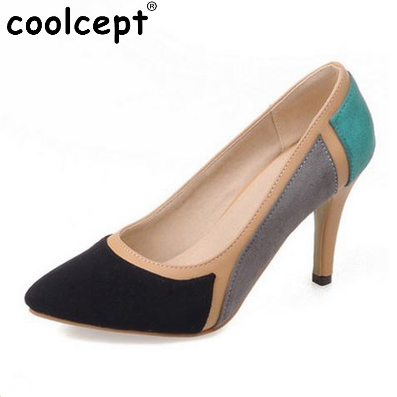 Women High Heels Shoes Mixed Color Pointed Toe  Suede Leather Stiletto Pumps Dress Office Ladies Footwear Size 32-43 pointed toe dress shoes ladies pumps high heels ankle strap footwear 4 34 small size crystal stiletto 2017 7cm 3 inch silver