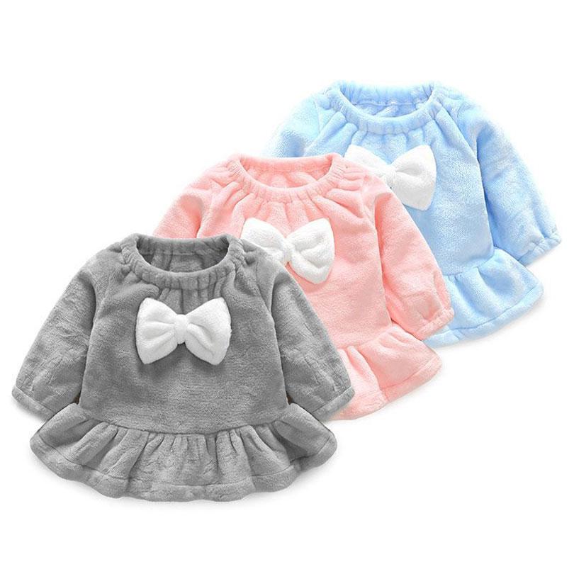 2018 Winter Baby Girls Dress Long Sleeve Bow Princess Dress Infant Newborn Girl Toddler  ...