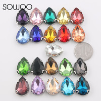 18 25 Drop Big Size Rhinestone Mixed Color Sew On Rhinestone With Claw Glass Crystals Sewing