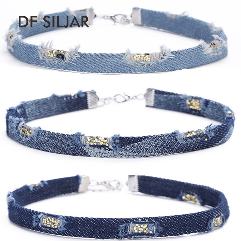 Old Blue Simple Jeans Denim Women Short Collar Choker Necklace Set Retro Punk Tattoo 201 ...