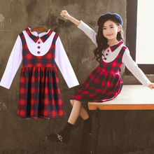 Childrens clothing long-sleeved plaid girls dress college wind spring and autumn casual student Dress