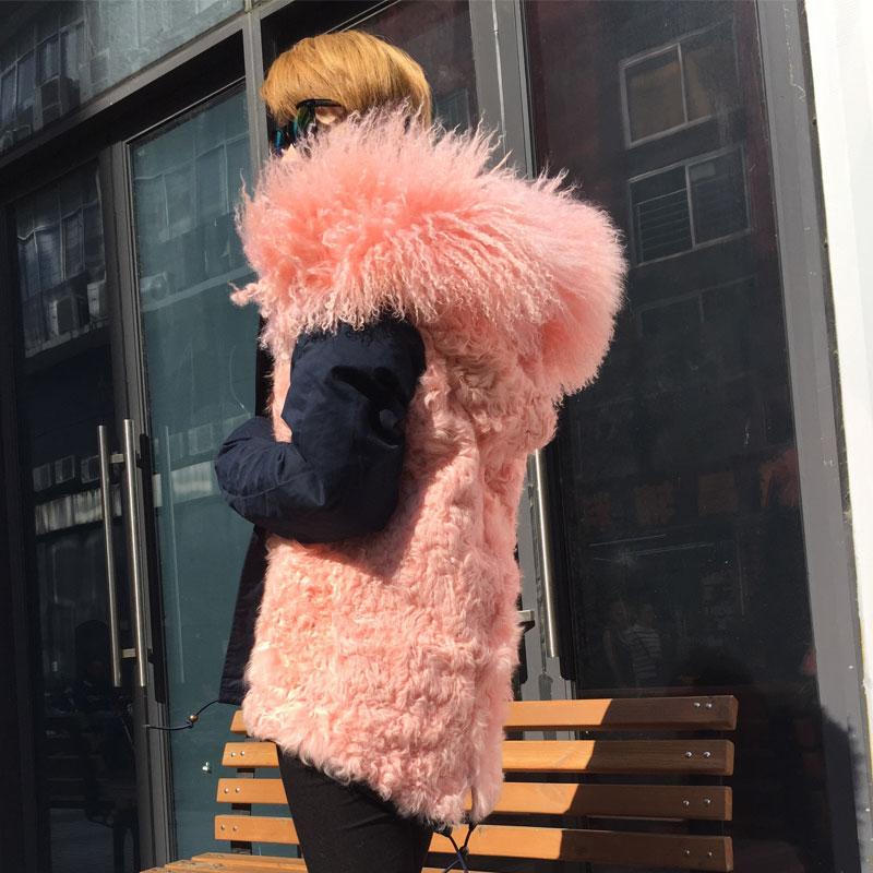 Bleu Mme D'agneau Hiver De Fourrure Collection Hoodies Nouvelle Rose Mode M Parka Wear Casual Porter Doublé Réel Pt0wxUaqf