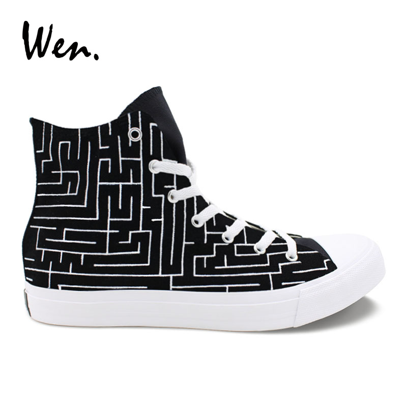 Wen Original Design Labyrinth Maze Style Hand Painted Athletic Shoes Black High Top Men Women's Canvas Sneakers for Unique Gift