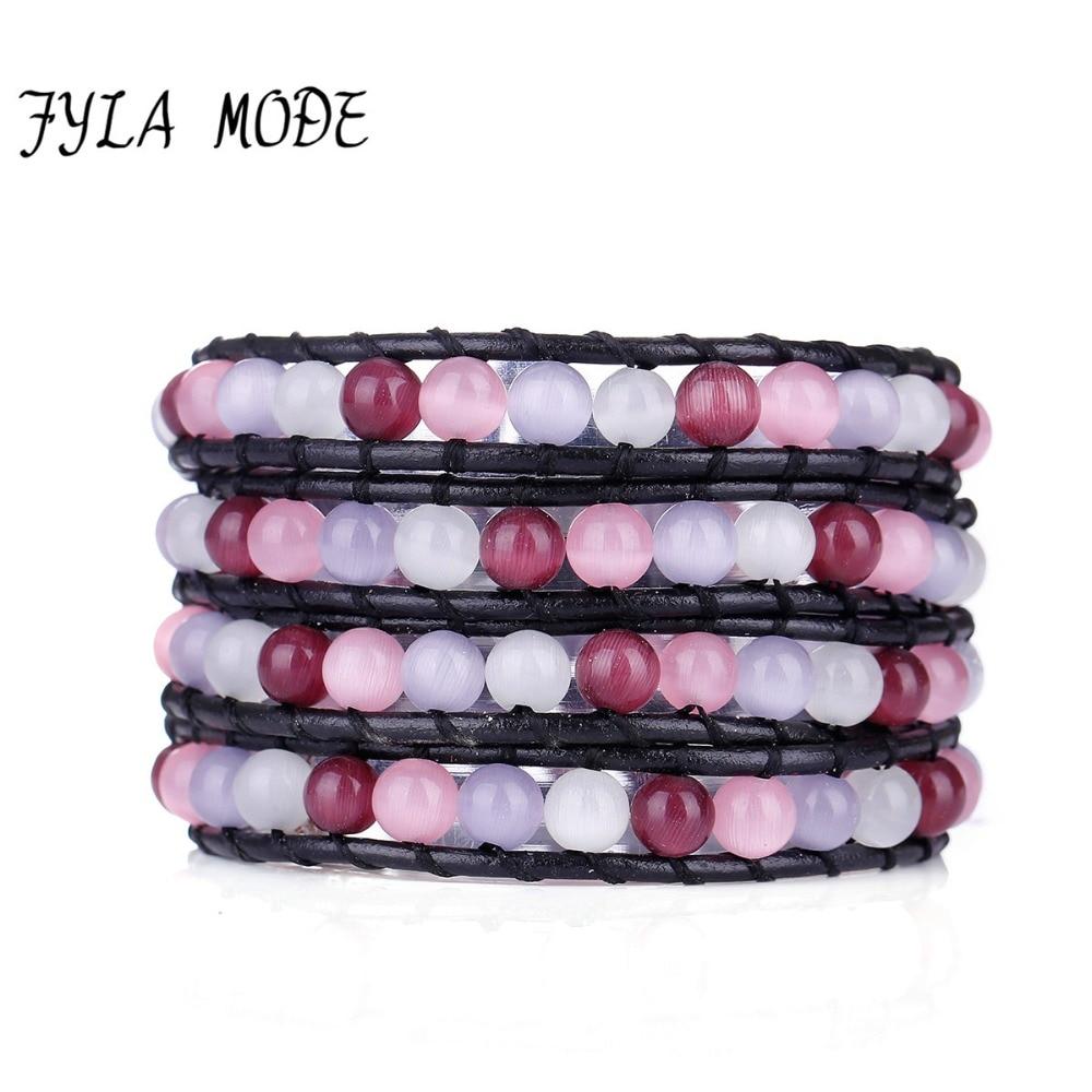 Fyla Mode Hand-Woven Natural Purple Pink Opal Stone Wrapped Leather Bracelet Men Women Lady Unisex Gift Charm Bracelet Bangle