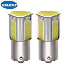 цена на Aslent 2pcs 1156 ba15s p21w 1157 bay15d P21/5W led COB 12v auto Brake light White Yellow Car Bulb rear Turn signal lamp parking