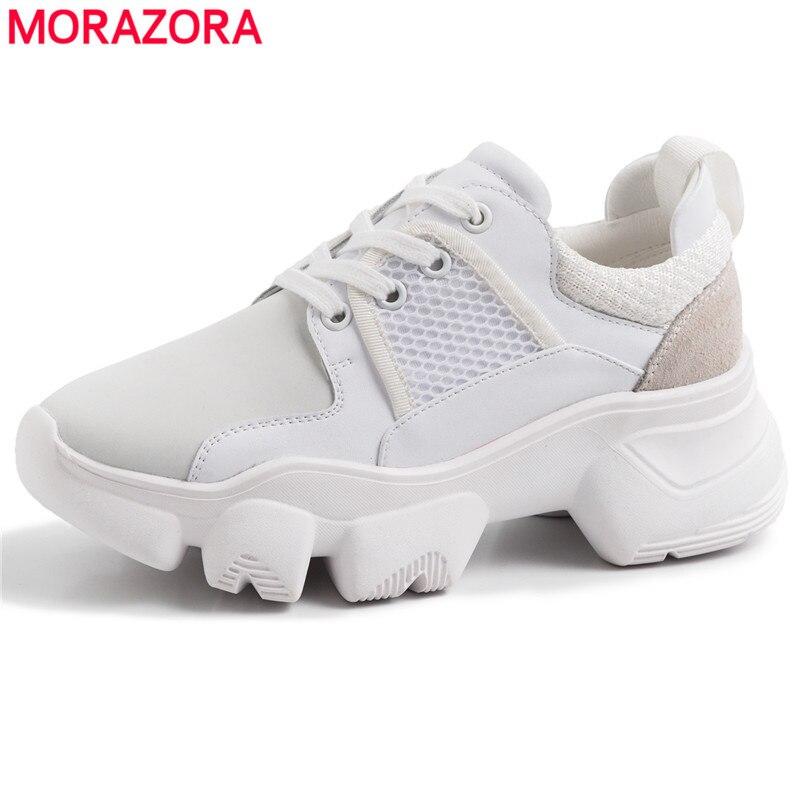 2019 En Cuir Véritable D'été Printemps Dames chaussures décontractées Pour Femme chaussures vulcanisées chaussures plateforme respirant Sneakers femmes
