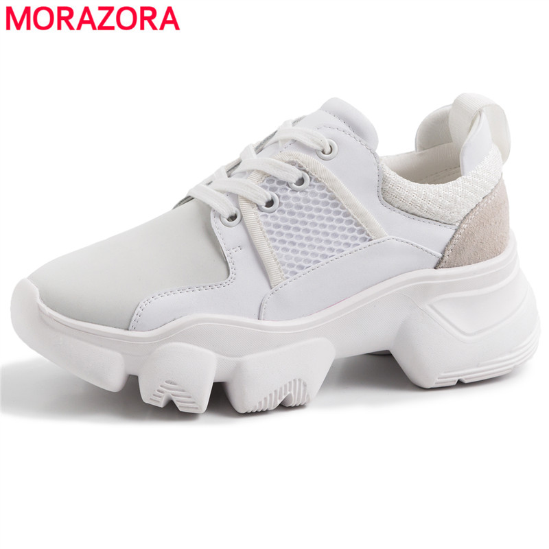 2019 Genuine Leather Summer Spring Ladies Casual Shoes For Woman Vulcanized Shoes Breathable Platform Shoes Sneakers women