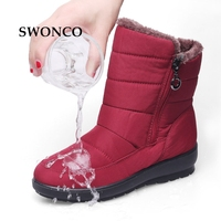SWONCO Women Winter Boots Waterproof Thick Plush Mother Shoes Mid calf Snow Boot Winter Boots Women 2018 Fashion Zip Woman Boot