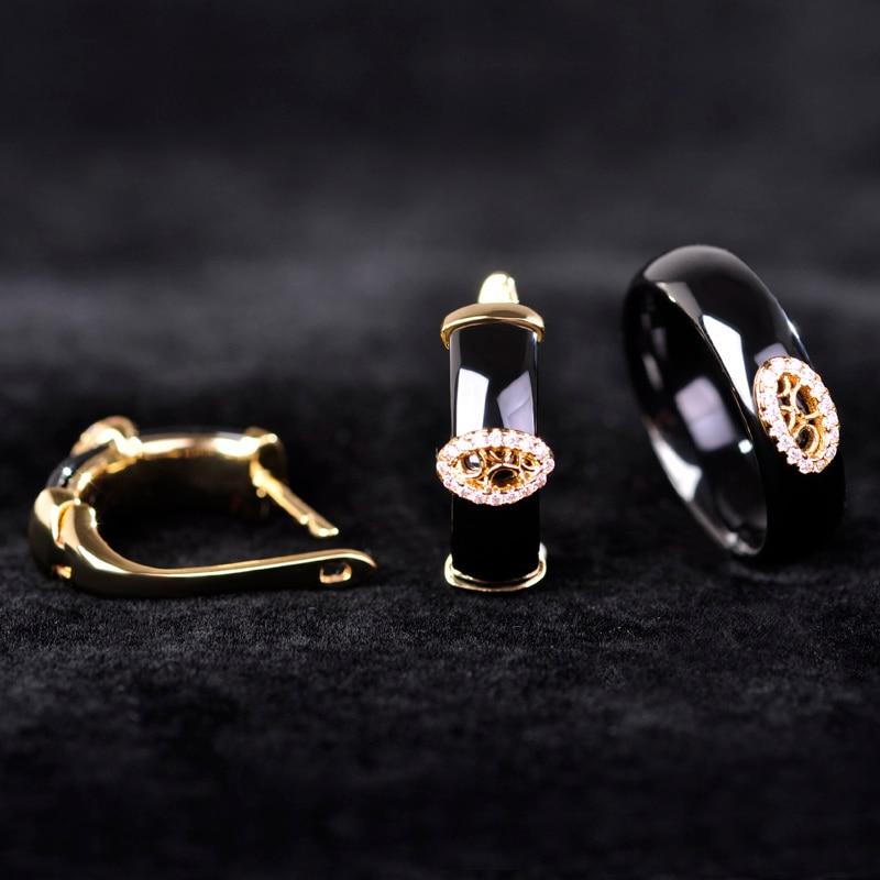 Blucome Black Ceramic Earrings Rings Set Gold Color Princess Hooks Stud Earrings Full Zircons Rhinestone Setting Jewelry Sets starry pattern gold plated alloy rhinestone stud earrings for women pink pair