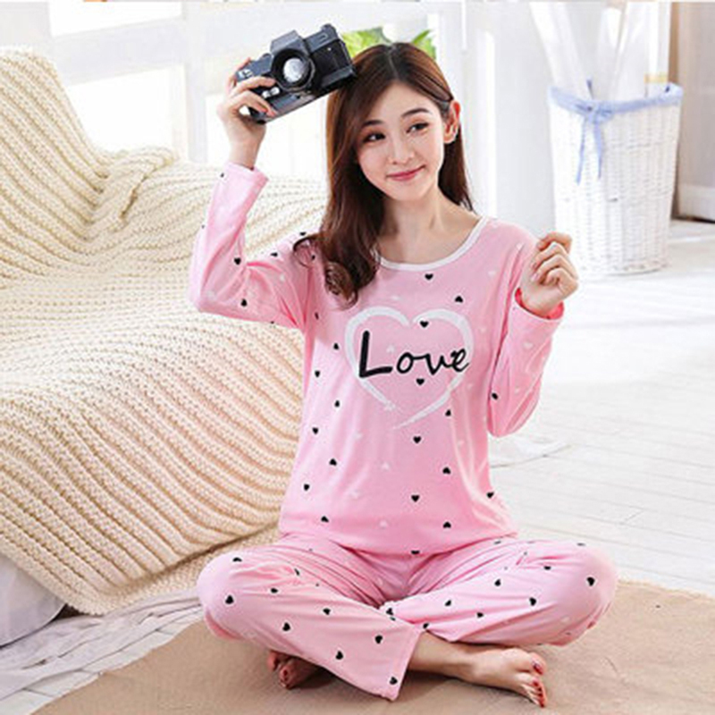 Women   Pajamas     Set   Spring Autumn New Printed Long Sleeve Cute Sleepwear Casual Homewear Female Pyjamas