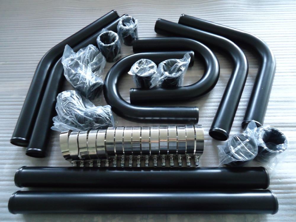 "Universal High Quality 2.5/"" Black Intercooler 8pc U Piping Kit Aluminum Red Sub"