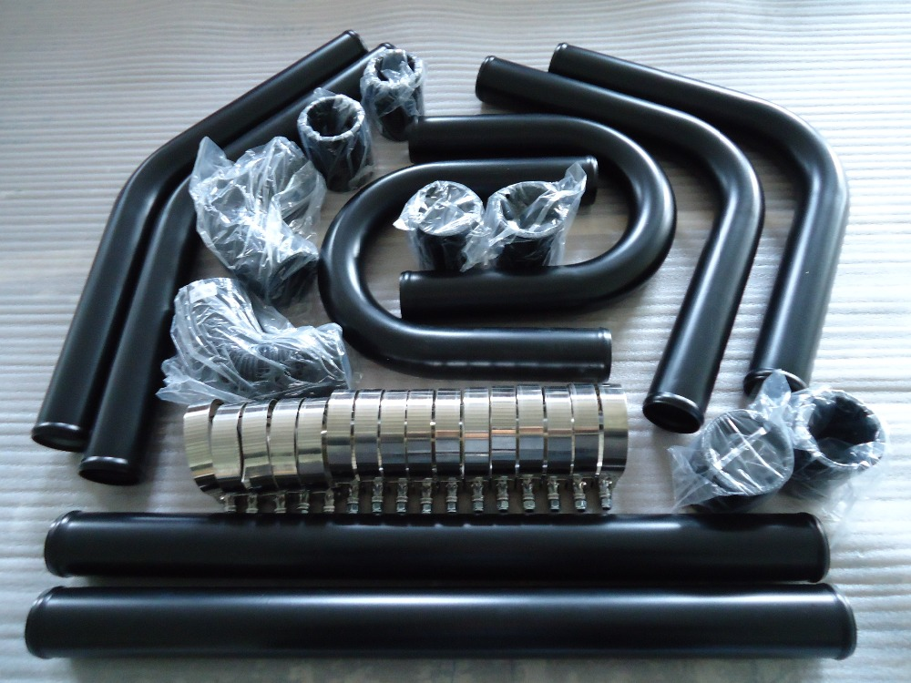 "Universal High Quality Black Intercooler 2.5/"" 8pc U Piping Kit Aluminum Red"