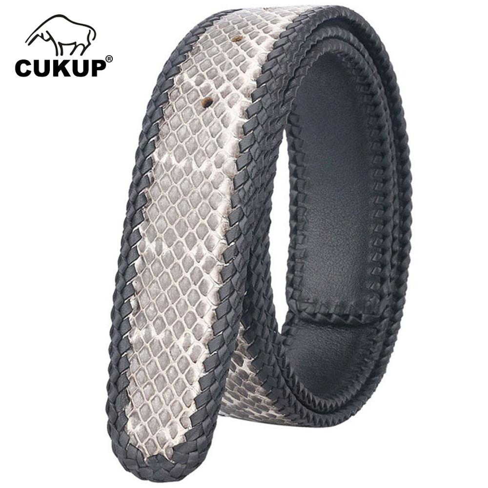 CUKUP Unisex Quality 100 Real Snake Leather Belt Female Male Pin Smooth White Style Belts for