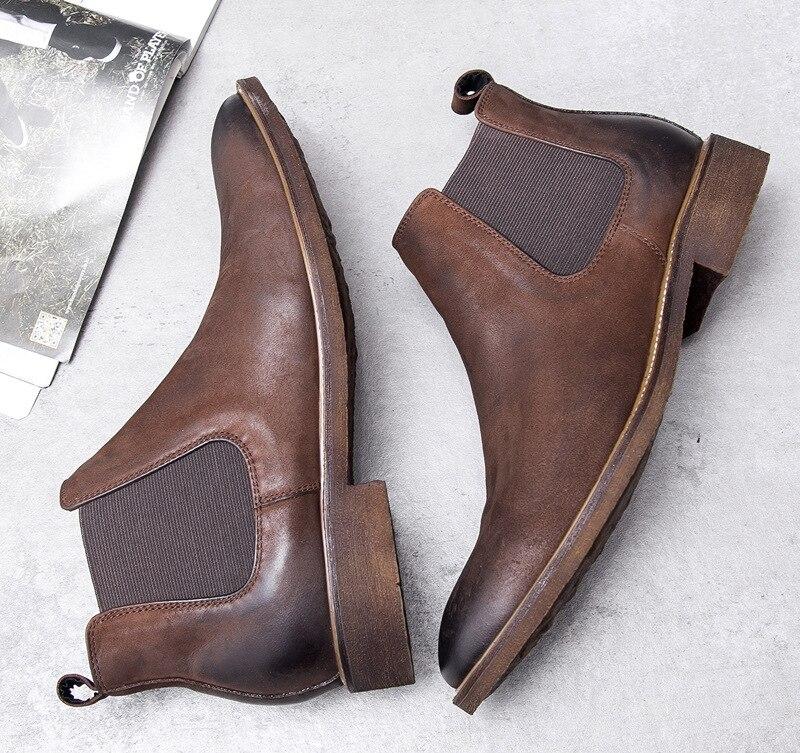 Nieuwe Chelsea nubuck leer mannen laarzen retro enkellaarsjes retro Engeland trend mens business jurk werk laarzen bruiloft schoenen mannen - 4